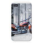 El montar a través de las maderas en un día Nevado iPhone 4 Cárcasa