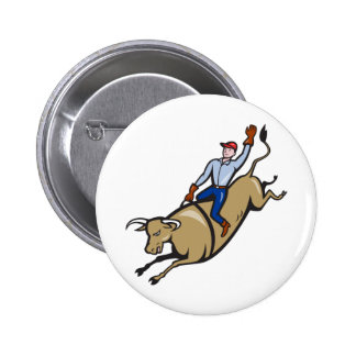 El montar de Bull del vaquero del rodeo retro Pin Redondo 5 Cm