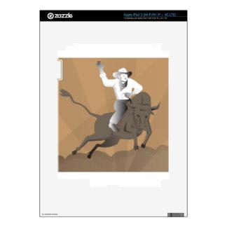 el montar del toro del vaquero del rodeo retro iPad 3 pegatina skin