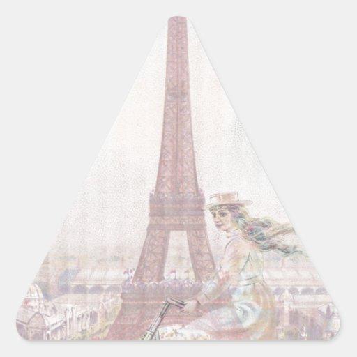 El montar en bicicleta a través de París Calcomanías De Triangulos Personalizadas