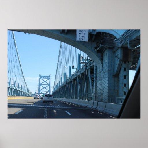 El montar en el puente de Ben Franklin Poster
