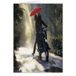 El montar en la lluvia tarjetas