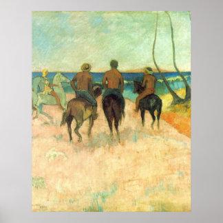 El montar en la playa de Eugène Enrique Paul Gaugu Poster
