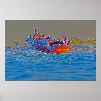 El montar en poster de madera del barco