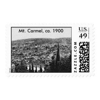 El monte Carmelo, Haifa, Israel, CA 1900. Sello