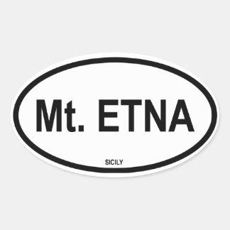 El monte Etna Calcomanía Oval Personalizadas