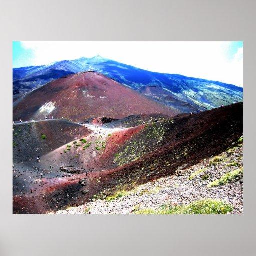 El monte Etna y anillos Póster