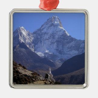 El monte Everest 4 Adorno Navideño Cuadrado De Metal