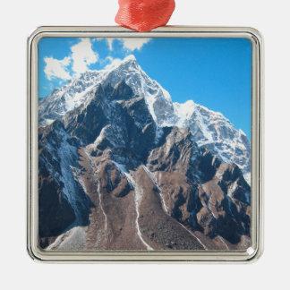El monte Everest 7 Adorno Navideño Cuadrado De Metal