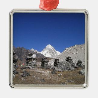 El monte Everest 9 Adorno Navideño Cuadrado De Metal