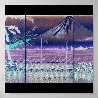 El monte Fuji circa 1860's (con colores modificado Póster
