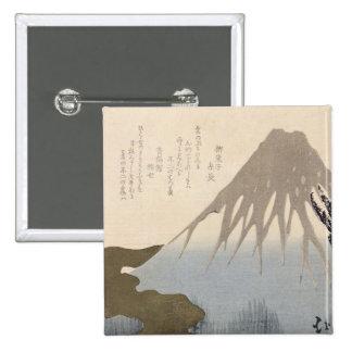 El monte Fuji debajo de la nieve Pin Cuadrado