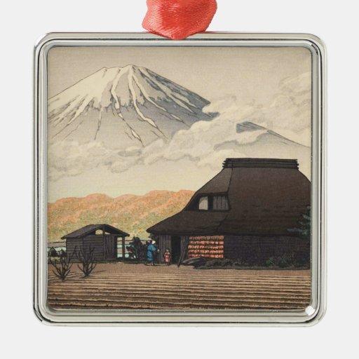 El monte Fuji del arte del hanga de la espinilla d Ornamento De Navidad