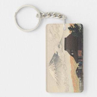 El monte Fuji del arte del hanga de la espinilla d Llavero Rectangular Acrílico A Doble Cara