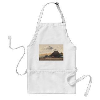 El monte Fuji del arte del hanga de la espinilla Delantal