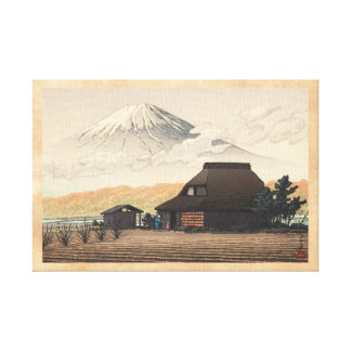 El monte Fuji del arte del hanga de la espinilla Lienzo Envuelto Para Galerías