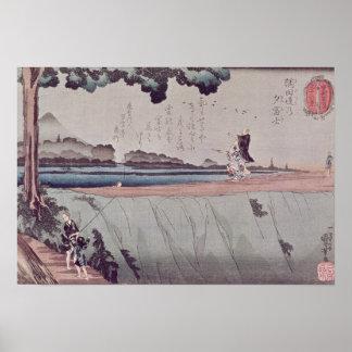 El monte Fuji del terraplén del río de Sumida Póster