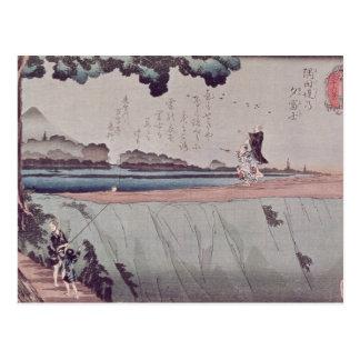 El monte Fuji del terraplén del río de Sumida Tarjetas Postales