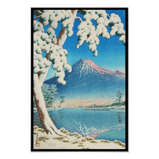 El monte Fuji después de la escena del hanga de la Póster