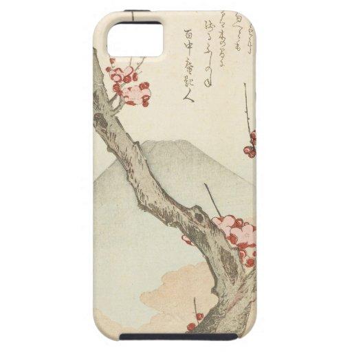 El monte Fuji detrás de un árbol de ciruelo florec iPhone 5 Protectores