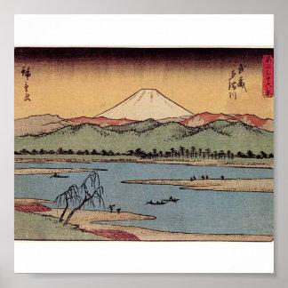 El monte Fuji en Japón circa 1800s Póster