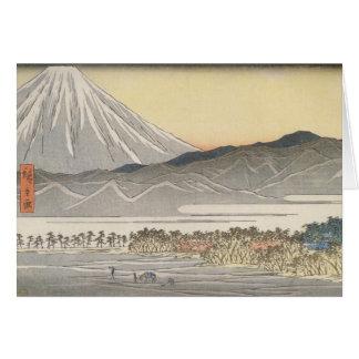 El monte Fuji hermoso en Japón circa 1800s Tarjeta De Felicitación