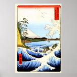 El monte Fuji, ondas de fractura en el mar, japoné Posters
