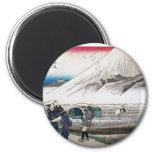 El monte Fuji por la mañana, Japón circa 1831-1834 Imanes De Nevera