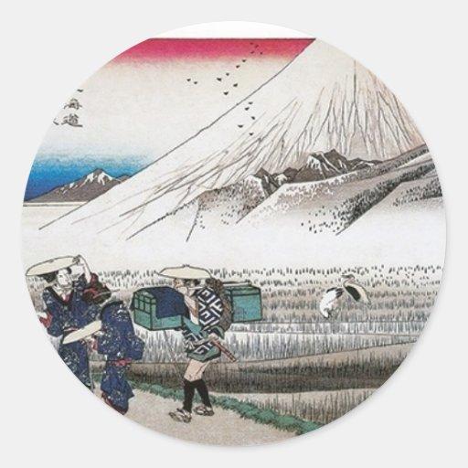 El monte Fuji por la mañana, Japón circa 1831-1834 Pegatina Redonda