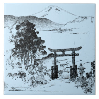 El monte Fuji - serie de los homenajes - Azulejo Cuadrado Grande