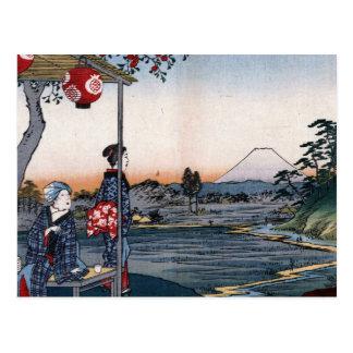 El monte Fuji vio a partir de los 1800s Japón del Postal