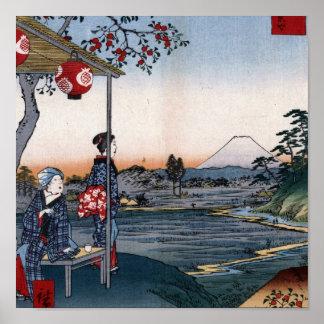 El monte Fuji vio a partir de los 1800s Japón del  Póster