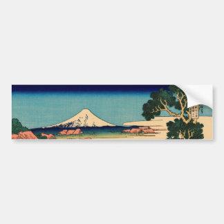El monte Fuji visto de la plantación de té Pegatina De Parachoque