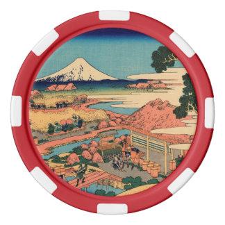 El monte Fuji visto de la plantación de té Juego De Fichas De Póquer