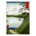 El monte Fuji visto de un lago Hiroshige 1858 Tarjeta De Felicitación