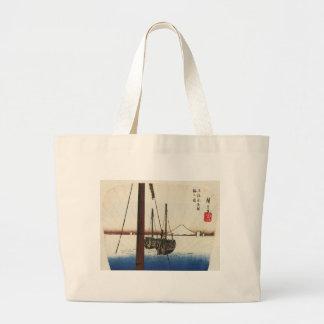 El monte Fuji y barcos. Japón. Circa 1800's Bolsa
