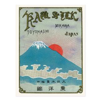 El monte Fuji y etiqueta de seda japonesa del Postales