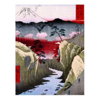 El monte Fuji y pájaros en Japón circa 1800s Postal