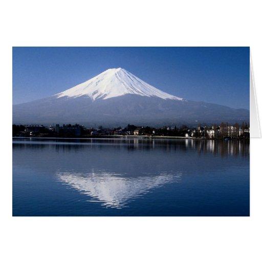El monte Fuji y reflexión en el lago Kawaguchi, Ja Tarjetón