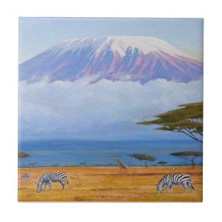 El monte Kilimanjaro Azulejo Cuadrado Pequeño
