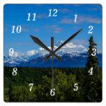 El monte McKinley de Alaska Reloj Cuadrado