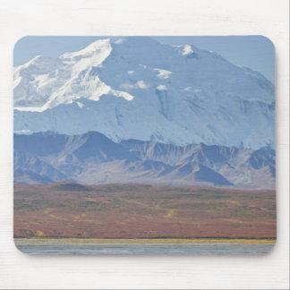El monte McKinley se eleva detrás de un campista y Alfombrilla De Raton