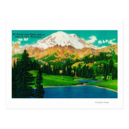 El Monte Rainier del lago Tipsoo en el paso de Postal
