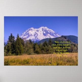 El Monte Rainier e impresión alta w/Scripture de