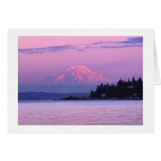 El Monte Rainier en la puesta del sol, estado de W Tarjetas