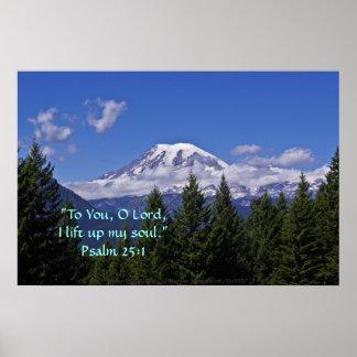 El Monte Rainier en verso de la niebla w/Scripture Póster
