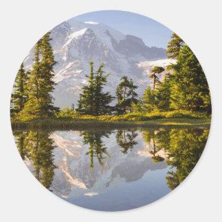 El Monte Rainier reflejó en un Tarn cerca del pico Pegatina Redonda
