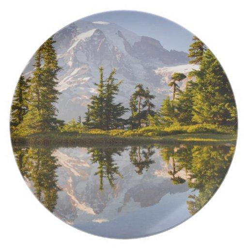 El Monte Rainier reflejó en un Tarn cerca del pico Platos De Comidas