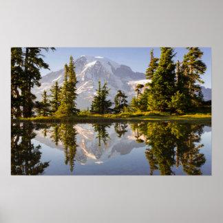 El Monte Rainier reflejó en un Tarn cerca del pico Póster