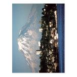 El Monte Rainier sumario sobre Tacoma, Washington, Tarjeta Postal